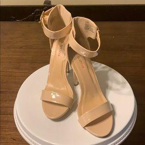 Nude open toe heels